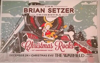 THE BRIAN SETZER ORCHESTRA Xmas Rocks 10th Anniversary Tour SF Kiosk Ad Sign