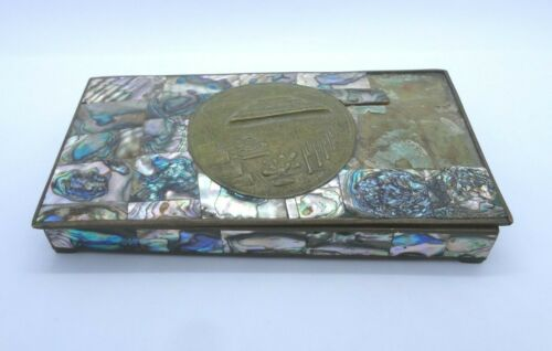 """Vintage Teotihuacan, Mexico Abalone Shell Jewelry Trinket Box 7"""" X 3.75"""""""