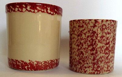 Set of 2 Gerald E Henn Workshops Red Trim Crock Canisters Roseville Sponge Ware