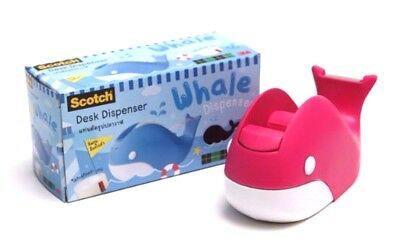 3m Scotch Pink Whale Tape Dispenser Cute Refillable Desk Office School Supplies