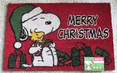 "Peanuts Snoopy & Woodstock Christmas Coir Door Mat 28"" x 18"" Red New"