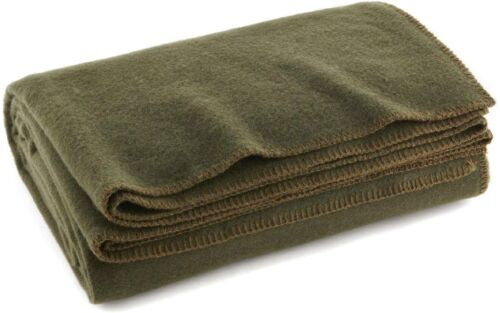 "Warm Wool Fire Retardent 80% Wool Blanket 66"" x 90"" Ever Ready Olive Drab Green"