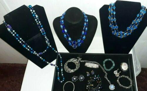 BLUE LOT VINTAGE ART DECO GLASS  CRYSTAL BEADED NECKLACE EARRINGS BRACELET