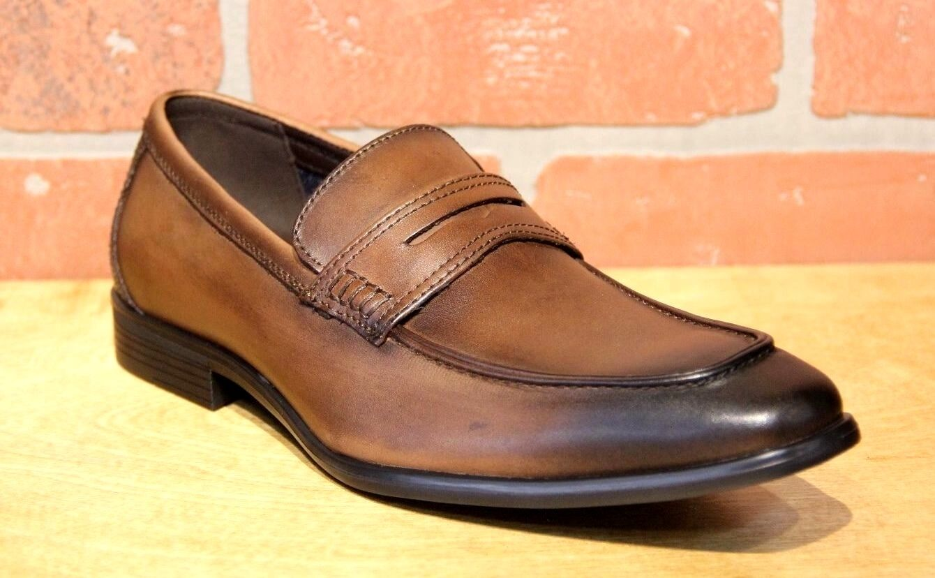 La Milano Men's Brown Leather SLip On Dress Shoes A11233