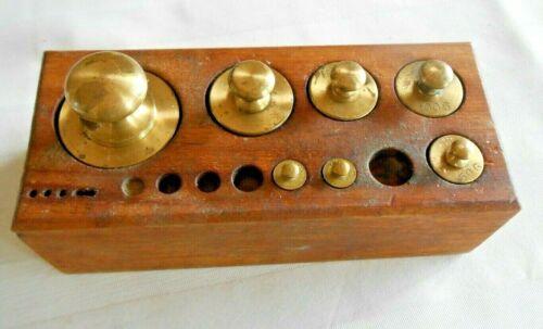 Scale Weights Brass 500, 200, 100 X 2, 50, 10 X 2, Gram W/Wood Block Holder