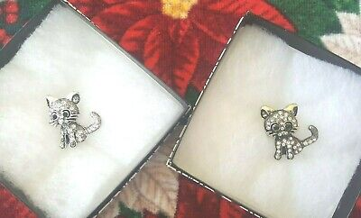 ~NEW~ 2 SPARKLING CAT PINS/BROOCHES - CHRISTMAS GIFTS-IN BOXES-GOLD & (Sparkling Cat)