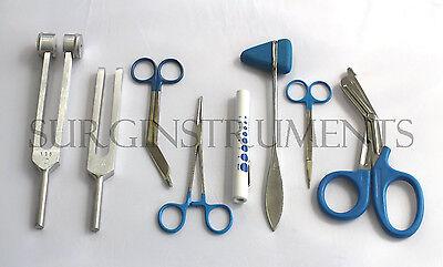 8 Piece Blue Medical Kit Emt Nursing Surgical Ems Student Paramedic Holiday Gift