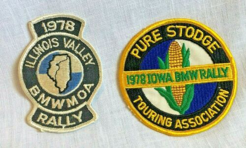 2 Vintage 1978 BMW Rally Embroidered Patches Pure Stodge Iowa Illinois Valley