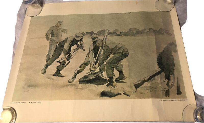 US Marine Corp Art Collection Mortal Drill PM Gish 1971 22x28 Print Poster