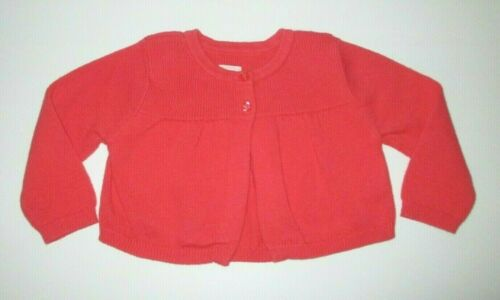 INFANT GIRLS BABY GAP CORAL RIBBED FLARE CARDIGAN SWEATER SIZE 3-6 MONTHS