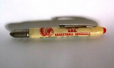 vintage 1951-1952 Anderson Indiana Indian's Basketball Schedule Bullet Pencil