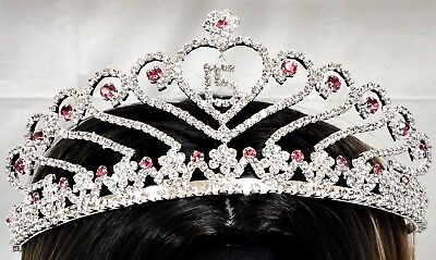 Pink Crowns (Pink Sweet 15 Rhinestone Tiara Quince Quinceanera Crown with Charm C6247-)