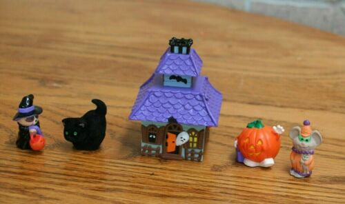 New Vintage Merry Miniatures Halloween, House, Cat, Pumpkin, Mouse & Raccoon