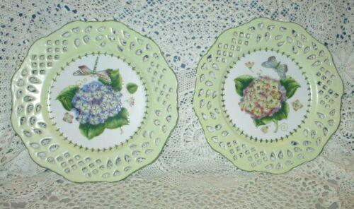 Vintage Reticulated Rim Hydrangea Floral Plates by Andrea Sadek Set 2