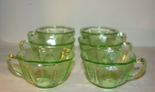 LOT of 6 Anchor Hocking Green Princess Cup Depression Uranium Glass