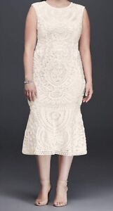 Ivory. Tea Length. Plus Size. Dress.