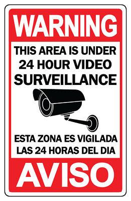 Cctv Warning Security Audio Video Surveillance Camera Sign Spanish English