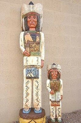 Gallagher 6' & 3' CIGAR STORE WOODEN INDIAN Chief Sculptures Native Made in USA