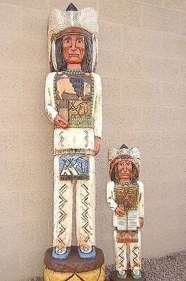 6', 3' CIGAR STORE INDIAN Chief Set 6ft, 3ft Wooden Sculptures Frank Gallagher