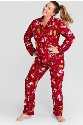 (WONDERSHOP Women's Notch Collar Red Holiday Santa Pajamas)