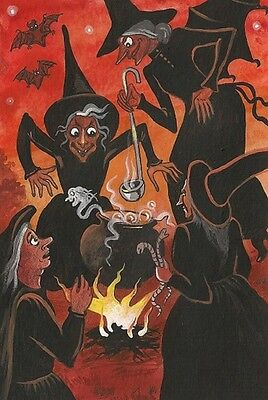 4X6 HALLOWEEN POSTCARD PRINT LE 4/27 RYTA VINTAGE STYLE ART WITCH HAUNTED POTION