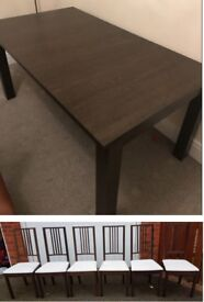 Mohogany Extending Dining Table & 6 Ikea Borje Chairs FREE DELIVERY 435