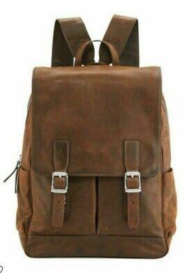 Men's Vintage Travel 100%Genuine Leather Backpack Shoulder School Laptop Bag New