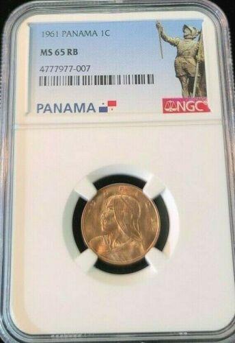 1961 PANAMA 1 CENTESIMO 1C URRACA NGC MS 65 RB HIGH GRADE BEAUTIFUL COIN