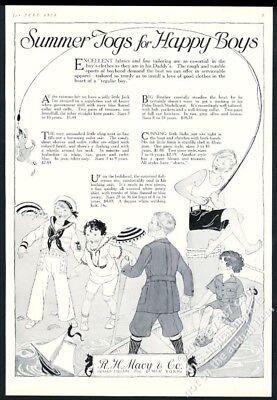 1923 Boy's Matrose Kostüm Fischen Spiel Outfits Kunst Macys Vintage Druck