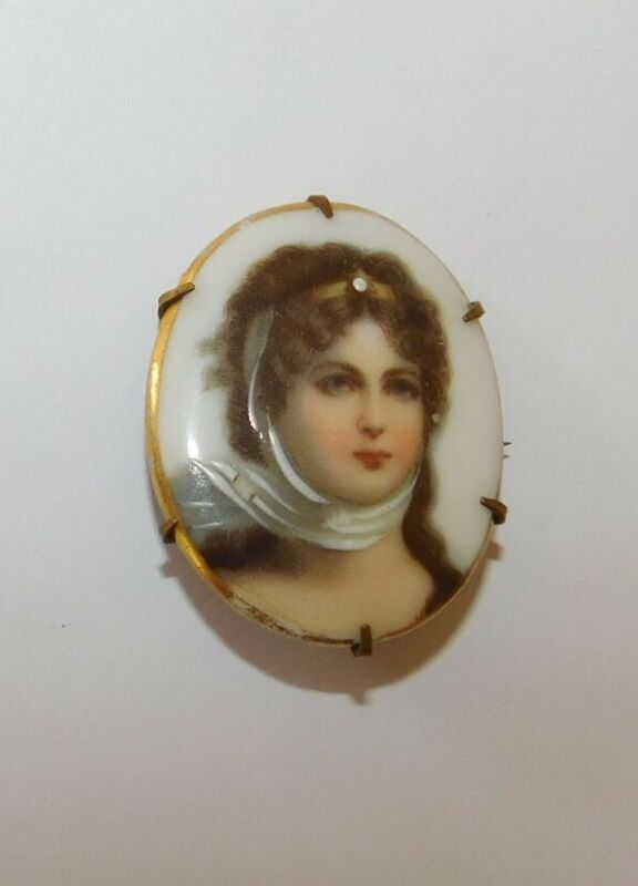 Antique Cameo Portrait Brooch Hand Painted C clasp pin porcelain