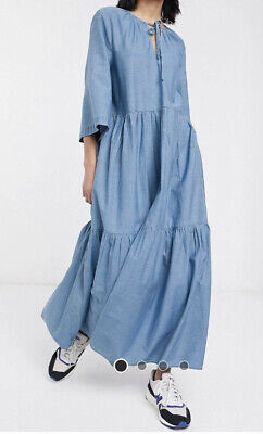 Selected Femme Slfjoy Chambray Denim Dress Tiered Boho Maxi 38 uk 10 £100rrp