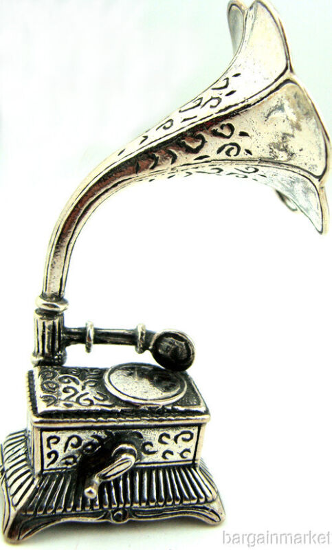 Miniature Sterling Silver Gramophone Phongraph #161