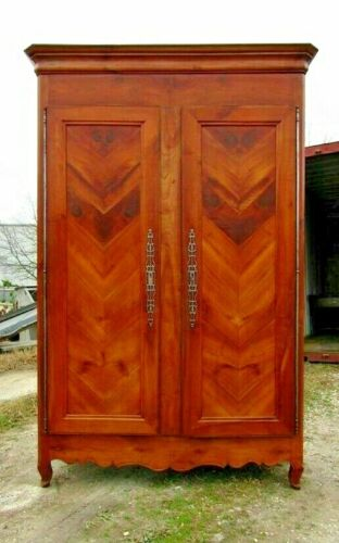 Antique 18th Century French Cherry Normandy Country Door Armoire Cabinet c1820