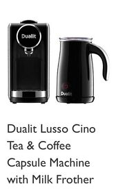Dualit Lusso Cino coffee and tea capsule machine with milk frother