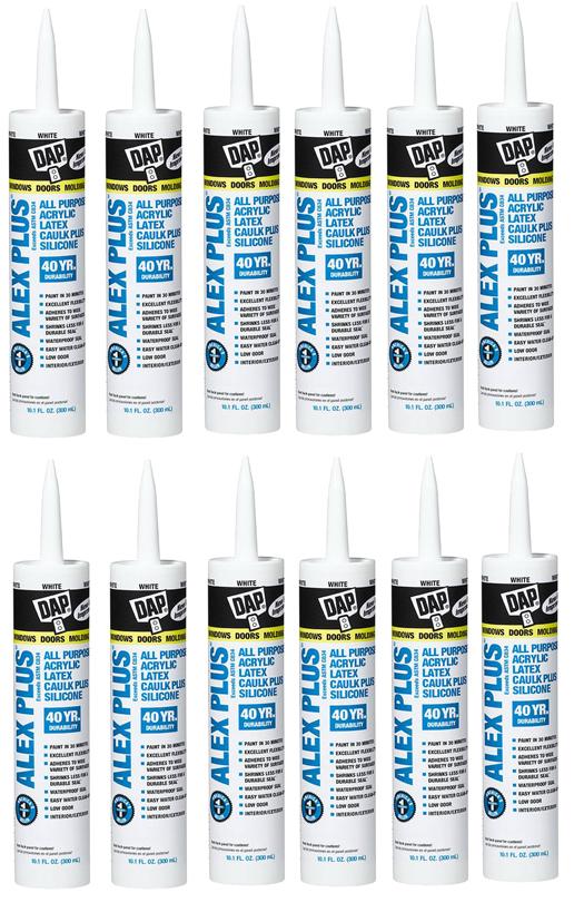 DAP White Alex Plus Acrylic Latex Caulk with Silicone - Pain