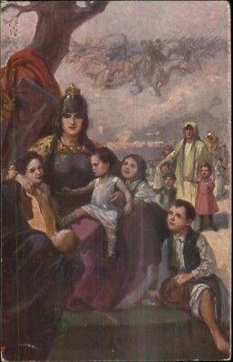 Hungarian Propaganda Woman Knight Shield Breast Plate Children WWI Postcard