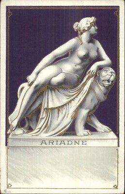 Art Nouveau - Nude Statue Woman on Tiger ARIADNE c1900 Postcard](Naked Women Superheroes)