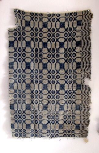 LOT OF (5+) Antique American Coverlet Fragments