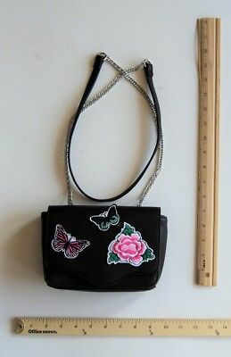 Candies BLACK Mini Cross Body Purse Hand Bag Rose & Butterfly Patch - FLASH -