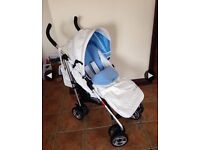 Leather white stroller massimo