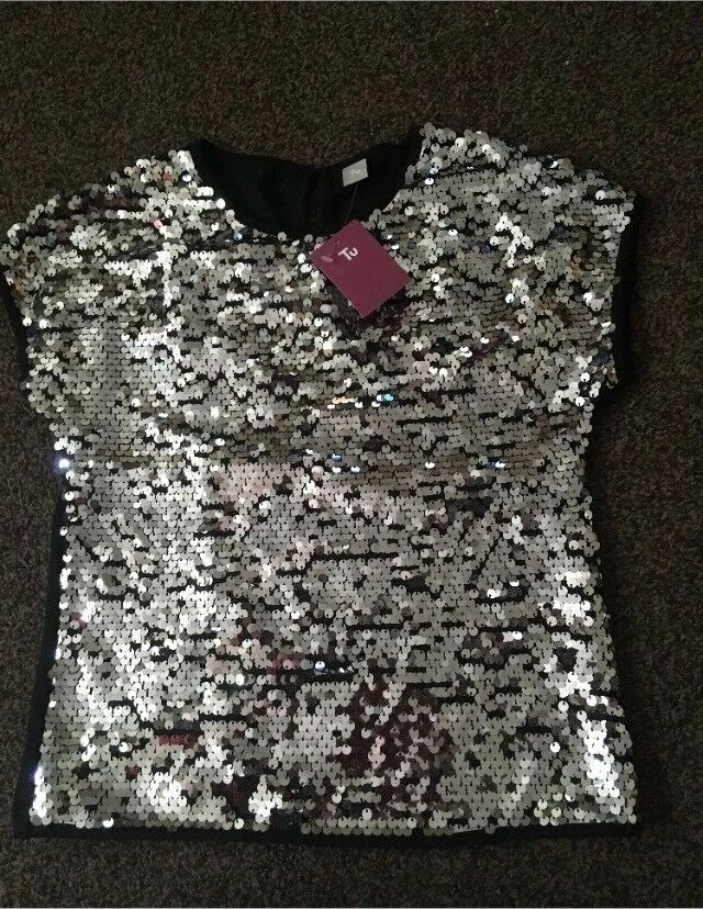 14d14a294b09a New Girls silver Sequin Top disco party age 10 Years