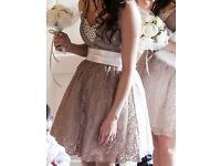 Stunning Minky / Dusty Pink Beige Bridesmaid Formal Dress with Ivory Ribbon UK 6 / 8