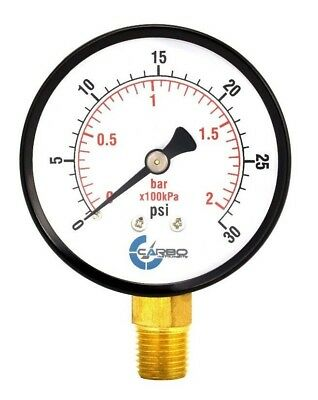 2-12 Pressure Gauge - Black Steel Case 14npt Lower Side Mnt. 30 Psi