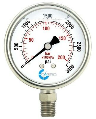 2-12 Pressure Gauge Stainless Steel Case Liquid Filled Lower Mnt 3000 Psi