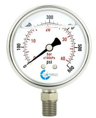 2-12 Pressure Gauge Stainless Steel Case Liquid Filled Lower Mnt 600 Psi