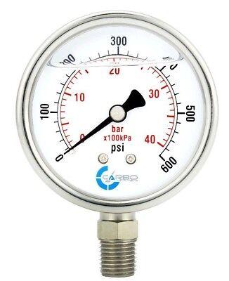 2.5 Liquid Filled Pressure Gauge 0 - 600 Psi Stainless Steel Case Lower Mount