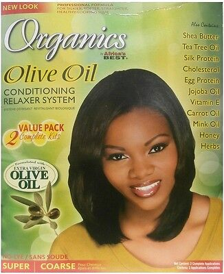 Relaxer / Glättungscreme Africa's Best Organics SUPER / COARSE 2 Complete Kits  - Relaxer Kit Super