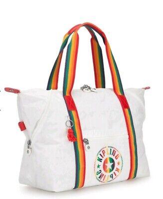 Kipling Art M rainbow white medium tote weekend bag Rrp£93