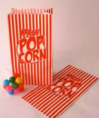 Popcorn Bags Red and White Striped Paper Fresh Popcorn 10 Bags Movie Party - Red And White Striped Paper