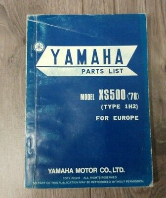 YAMAHA XS500 ('78) (TYPE 1H2) PARTS LIST 2G8-28198-E5